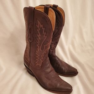 Old West Snip Toe Brown Cowboy Boots Sz 7